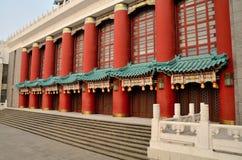 Door of Chongqing Auditorium. Red pillars of Chongqing Auditorium Royalty Free Stock Image