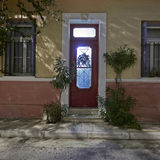 Door Christmas decorated, Athens Greece Stock Photo
