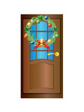 Door with a Christmas wreath. Brown door with a Christmas wreath on a white background royalty free illustration