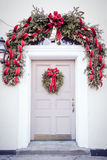 Door with Christmas Wreath royalty free stock photos