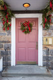 Door with Christmas Wreath stock images