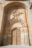 Door of church of the Assumption in Melgar de Fernamental in Bur. Door of church of the Assumption, landmark and monument from fourteenth to sixteenth century Royalty Free Stock Image
