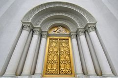 The Door of Church with Jesus Sculpture Stock Image