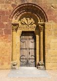 Door of Church Montceaux-l Etoile. Door with tympan of church Saint Pierre and Saint Paul, Montceaux-l` Etoile, Saone et Loire, France royalty free stock photography