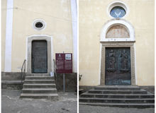 Door Church of Saints Peter and Paul, Agropoli village, Italy Royalty Free Stock Photos