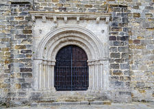 Door of the church of San Vicente de la Barquera, Spain Stock Photography