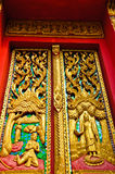 Door of the church. The statue in front of the church at the country of thailand Royalty Free Stock Image