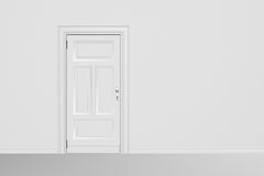 Door closed. White door closed in white room. High resolution 3D render stock images