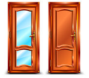 Door closed. From wood and glass, classic design with lock, illustration Stock Photos
