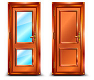 Door closed. From wood and glass, classic design with lock, illustration Royalty Free Stock Images
