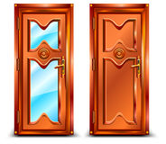 Door closed. From wood and glass, classic design with lock, illustration Stock Photography