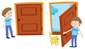 Door closed and door opened. Illustration Royalty Free Stock Photography