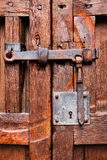 Door closed on lock and latch Royalty Free Stock Photo