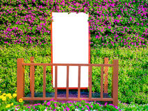 Door on colorful flowers with empty space stock photos