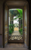 Door into Conservatory and garden Wrest Park royalty free stock photo