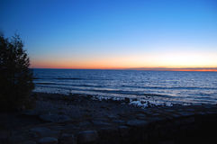 Door County WI-solnedgång Fotografering för Bildbyråer