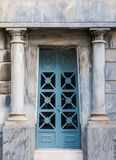 Door of crypt. The door of the stone crypt on the Montjuic Cemetery closeup front view, Barcelona, Catalonia, Spain royalty free stock photos