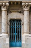 Door of crypt. The door of the stone crypt on the Montjuic Cemetery closeup front view, Barcelona, Catalonia, Spain royalty free stock image