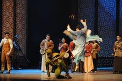 Door de binnenvallende Japanse Legerspanning de musicus-derde handeling van de gebeurtenissen van dans drama-Shawan van het verle Stock Foto's