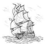 Door de wind aangedreven schip op een witte achtergrond Stock Fotografie