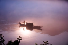 Door de zon in het water Stock Afbeelding