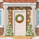 The door decorated with a Christmas wreath. Entrance to the suburban house decorated with a Christmas wreath on the door with a garland and spruce. Vector Royalty Free Stock Photo