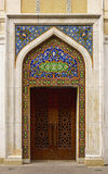 Door decorated with oriental ornament at the entrance to the Literature Museum in Baku, Azerbaijan Royalty Free Stock Image
