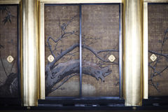 Door. Decorative sliding doors in Buddhist Temple Higashi Honganji, Kyoto, Japan Stock Images