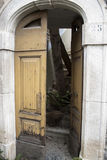 Door of destroyed building after the earthquake Stock Images