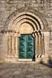 Door detail of Romanesque church of Fonte Arcada royalty free stock images