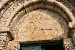 Door detail of Romanesque church Stock Image