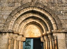 Door detail of Romanesque church Stock Photo