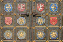 Door detail of Vysehrad cathedral stock image