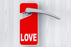 Door with Do Not Disturb Tag and Love sign Stock Photos