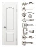 Door and door handles set on a white background. 3d rendering Stock Photo