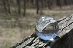 Door een kristallen bol Stock Foto
