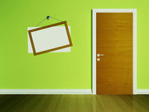 Door in the empty room and a frame Stock Images