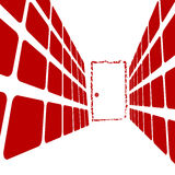 Door at the end of the hall. Hallway and red door Royalty Free Stock Images