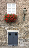 Door entrance of house with flowers Stock Images