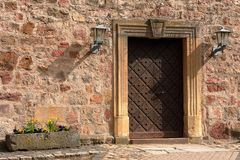 Door and entrance to the church of Herleshausen. A Door and entrance to the church of Herleshausen Royalty Free Stock Photo