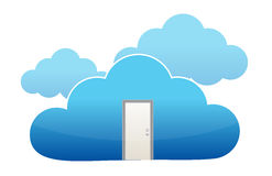 Door entrance to cloud computing Royalty Free Stock Images