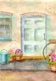 Door. Facade of country house, an old blue door, flowers in pots royalty free illustration