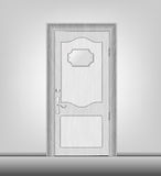 Door. Facade white wooden door closed with a glossy tablet Royalty Free Stock Image