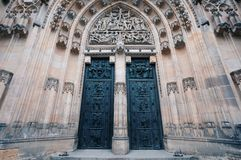 St. Vitus cathedral door in Prague Czech Republic. Door of famous historic St. Vitus cathedral in prague czech republic situated in Prague castle courtyard stock photo