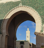 Door of fez and minaret Stock Photos
