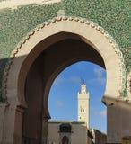Door of fez and minaret Stock Photos