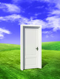 Door on field. Door on juicy green glade clear daytime Stock Photos