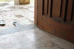 Door and floor, floor in the yard of the house stock image