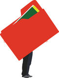 Door folder. Human figure brings folder for storing red Royalty Free Stock Image