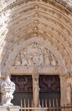 Door of forgiveness, cathedral of Toledo stock photos